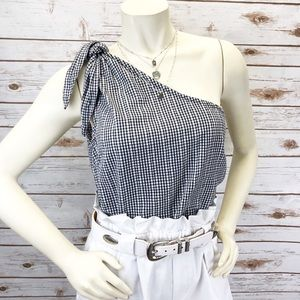 Francesca's Blue Rain Gingham Top Sz L ::GG9